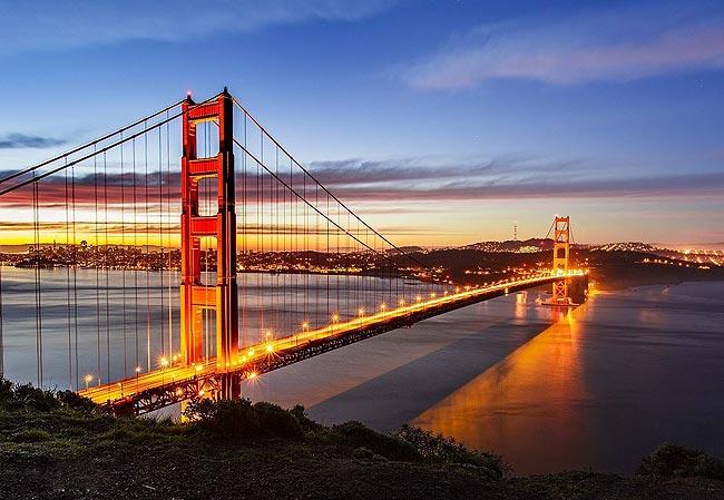 旧金山金门大桥夜景